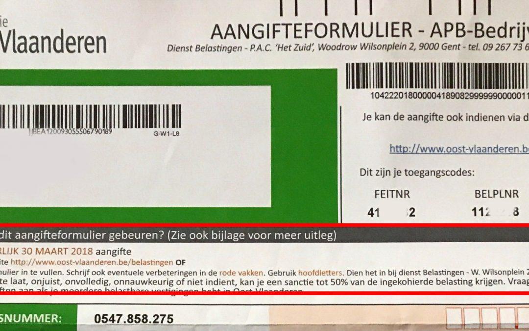Aangifte provinciebelasting Oost-Vlaanderen APB-Bedrijven
