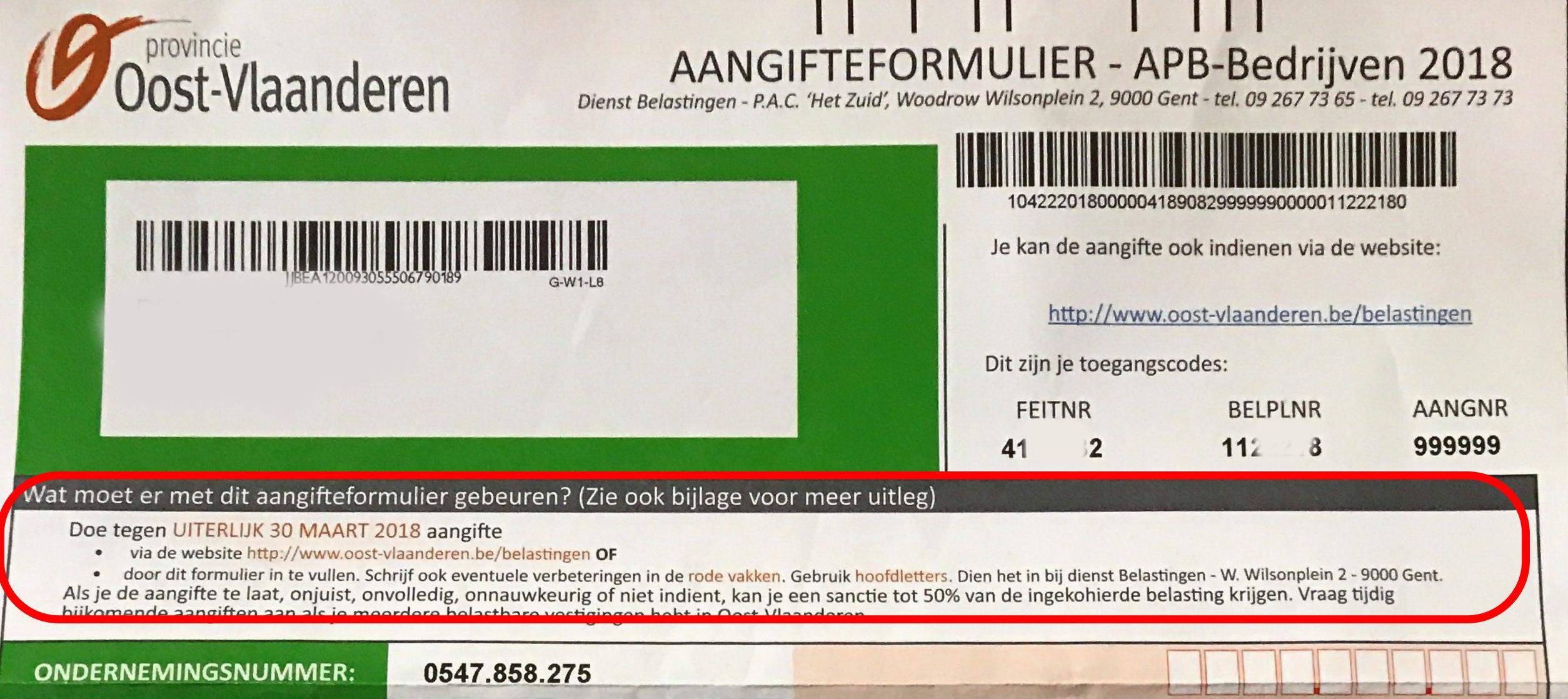 Aangifteformulier APB bedrijven 2018 - aangifte provinciebelasting Oost-Vlaanderen